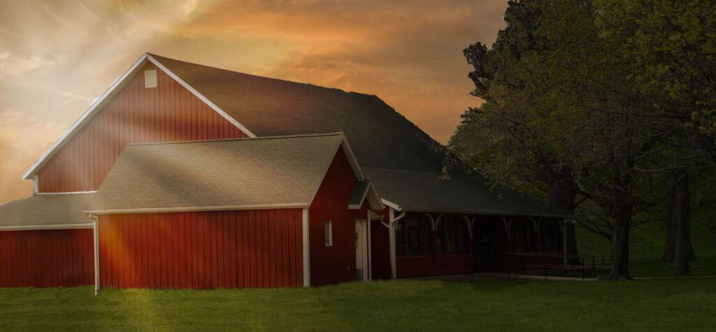 Troy Civic Barn at sunset.
